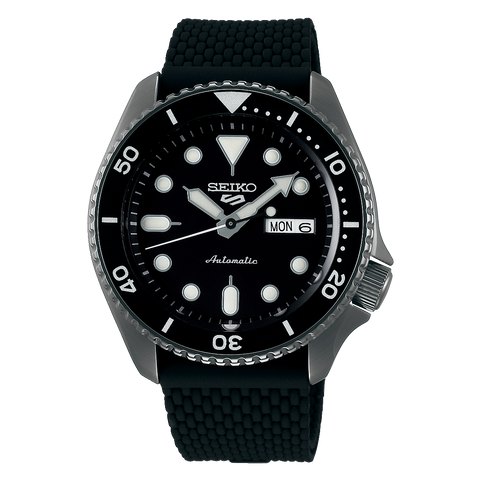 Seiko 5 Sports Automatic Black Silicon Strap Watch SRPD65K2