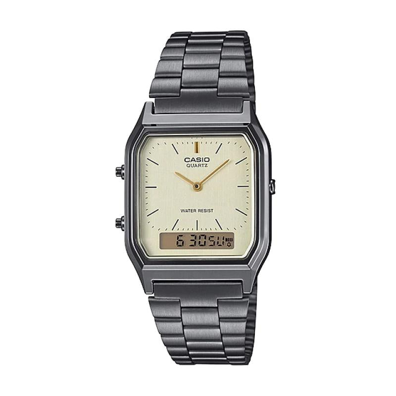 Casio Standard Analog Digital Gray Ion Plated Stainless Steel Band Watch AQ230GG-9A AQ-230GG-9A