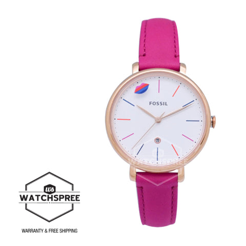 Fossil Ladies' Limited Edition Jacqueline Three-Hand Date Hot Pink Leather Watch LE1096