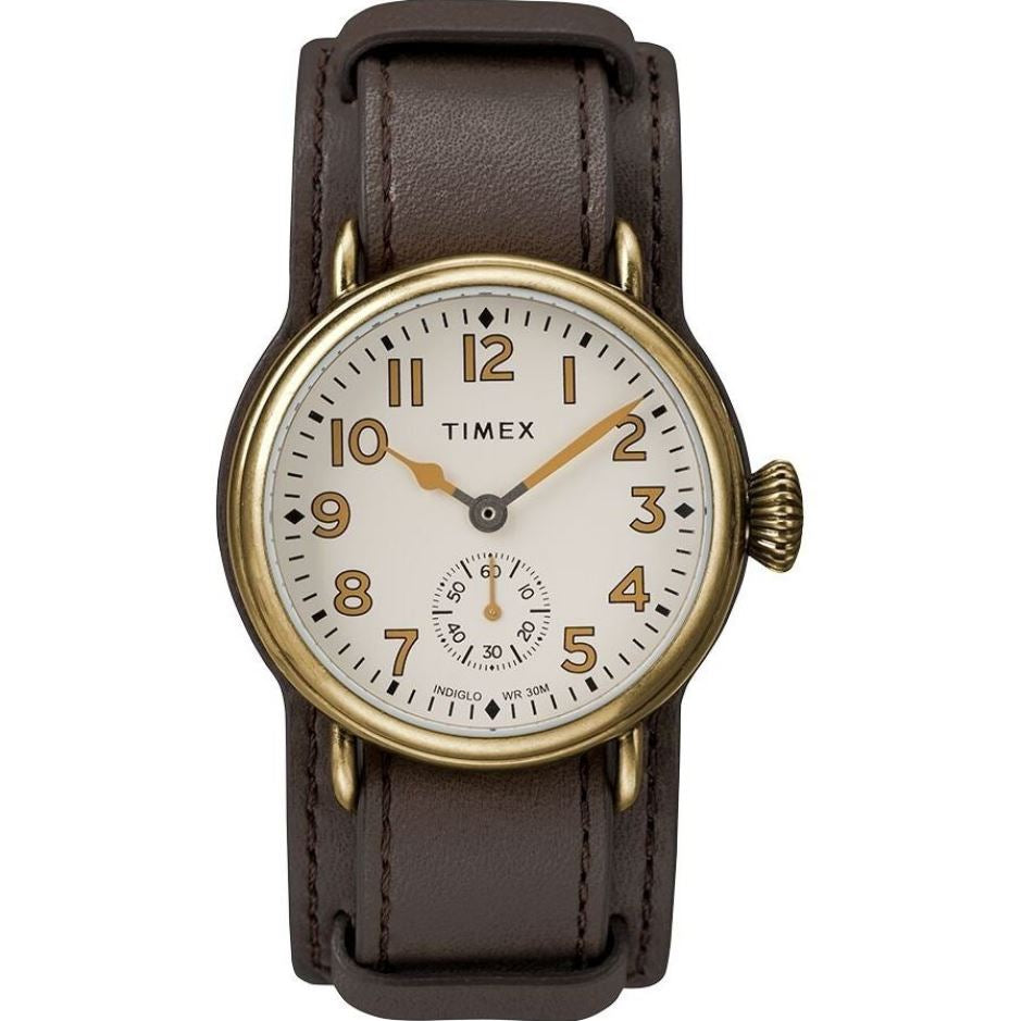[WatchSpree] Timex Men's Quartz Brown Leather Strap Watch TW2R87900