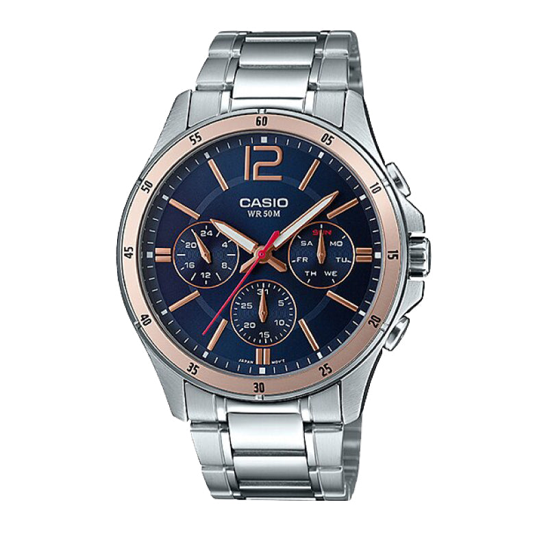 Casio Men's Multi-Hand Silver Stainless Steel Band Watch MTP1374D-2A2 MTP-1374D-2A2