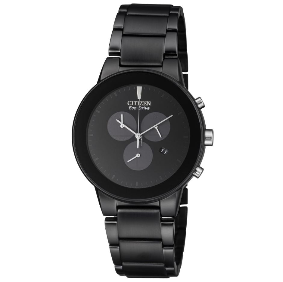 Citizen Men's Eco-Drive Black Stainless Steel Strap Watch AT2245-57E