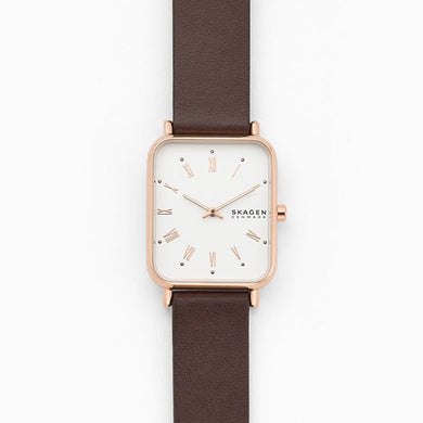 Skagen Ladies Ryle Two Hand Brown Leather Watch SKW2872