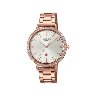 Casio Sheen Sapphire Crystal Lineup with Swarovski® Crystals Rose Gold Ion Plated Stainless Steel Band Watch SHE4535YPG-7A SHE-4535YPG-7A