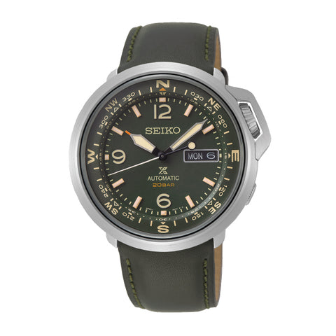 Seiko Prospex Land Series Automatic Dark Grey Green Leather Strap Watch SRPD33K1