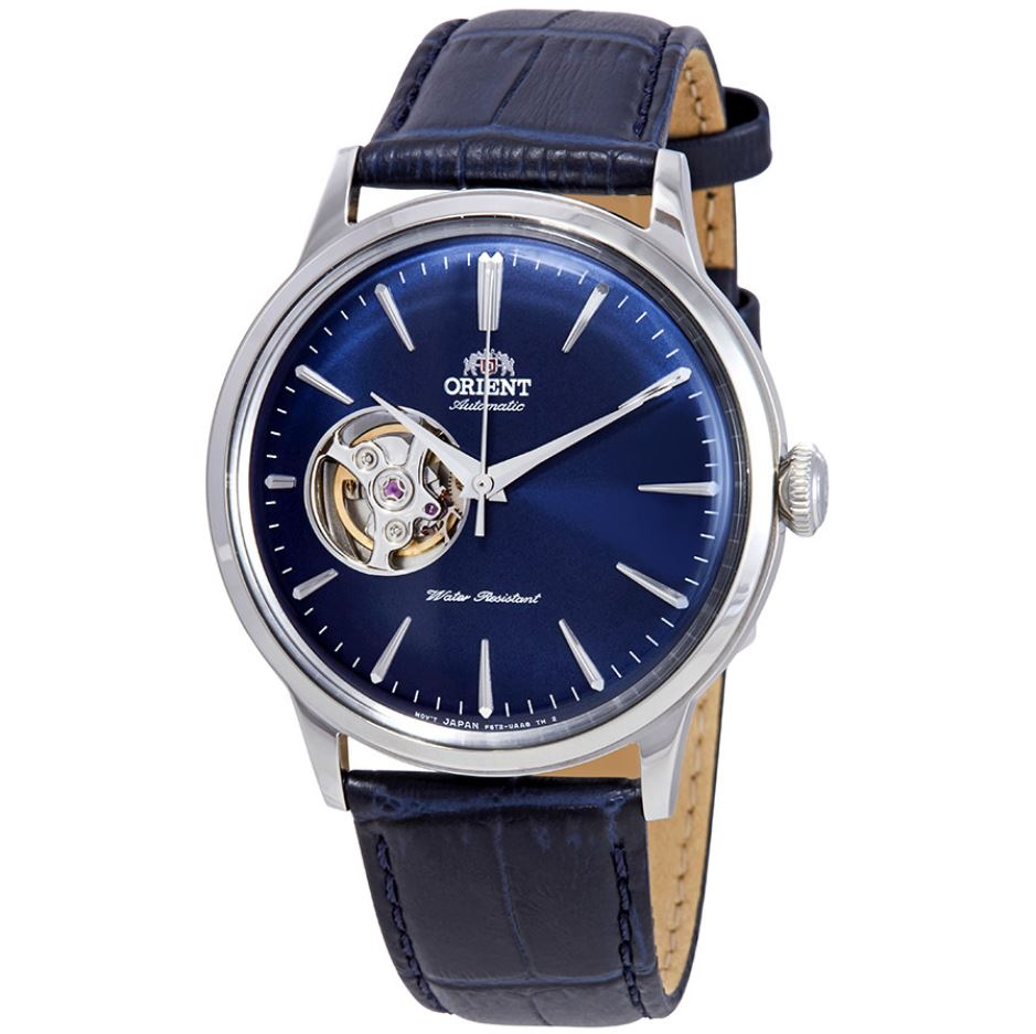 Orient Men's Open Heart Automatic Blue Leather Strap Watch RA-AG0005L10B  | Watchspree