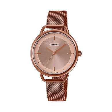 Casio Ladies' Analog Pink Gold Ion Plated Stainless Steel Mesh Band Watch LTPE413MR-9A LTP-E413MR-9A