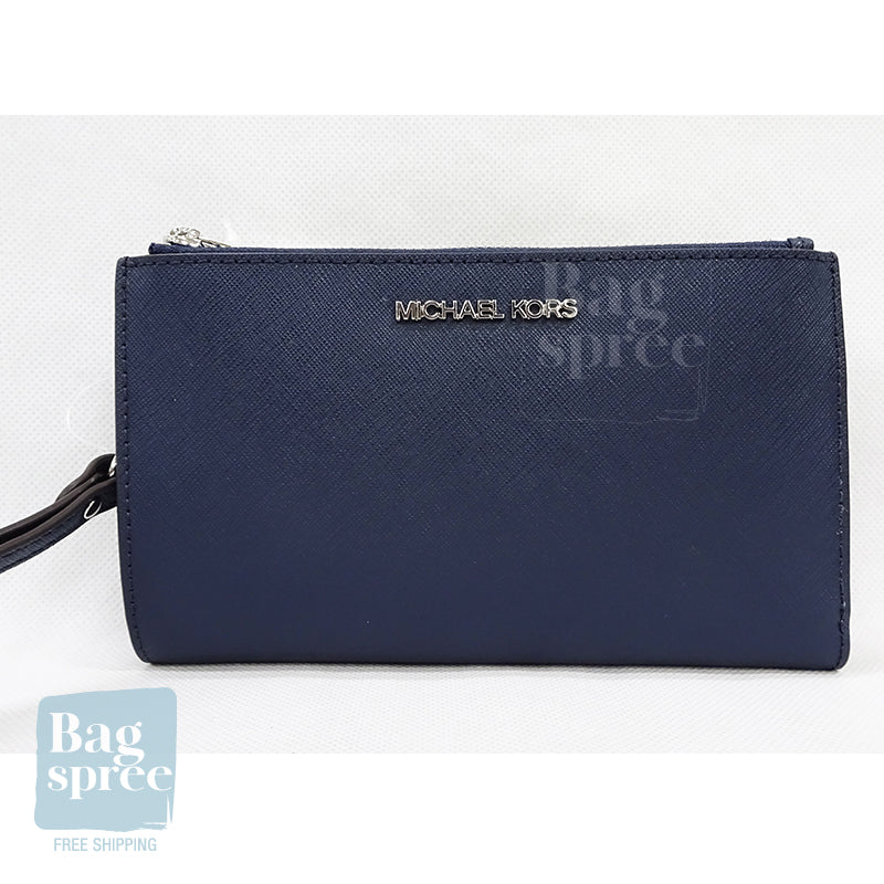 Michael Kors Jet Set Travel Large Double Zip Wristlet Navy 35F8STVW0L NAVY