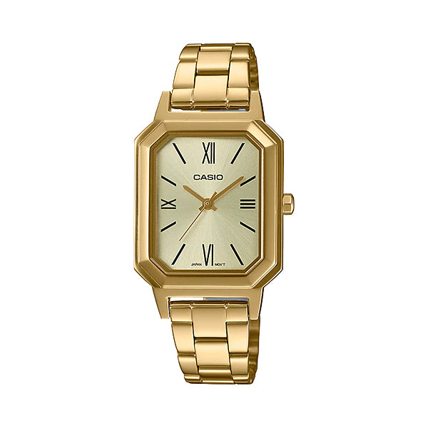 Casio Ladies' Analog Gold Ion Plated Stainless Steel Band Watch LTPE168G-9B LTP-E168G-9B