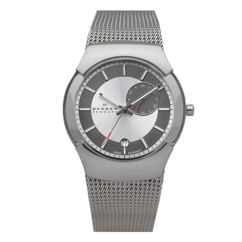Skagen Men's Silver Label Stainless Steel Mesh Bracelet Watch 983XLSSC