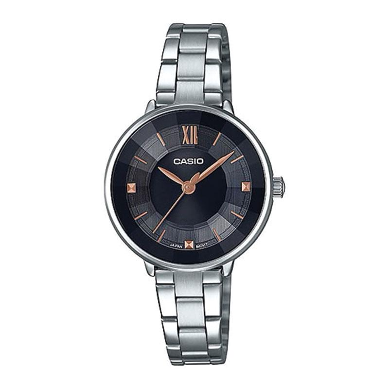 Casio Ladies' Analog Silver Stainless Steel Band Watch LTPE163D-1A LTP-E163D-1A | Watchspree