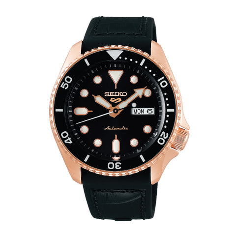 Seiko 5 Sports Automatic Black Silicone Strap Watch SRPD76K1