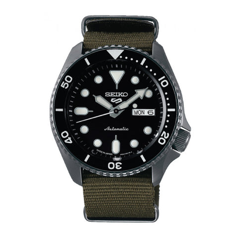 [JDM] Seiko 5 Sports (Japan Made) Automatic Olive Green Canvas Strap Watch SBSA023