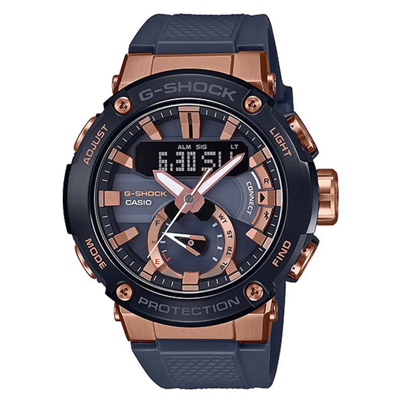 Casio G-Shock G-Steel Carbon Core Guard Structure Blue Resin Band Watch GSTB200G-2A GST-B200G-2A