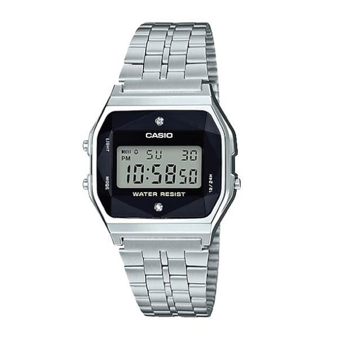 caec4118e81 Casio (Japan Made) Authentic Diamonds Vintage Digital Silver Stainless Steel  Band Watch A159WAD-