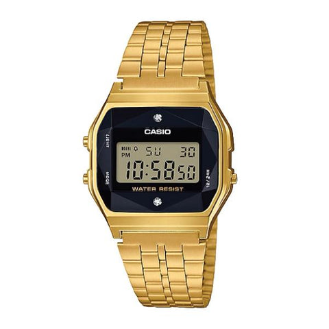 Casio (Japan Made) Authentic Diamonds Vintage Digital Gold Tone Stainless Steel Band Watch A159WGED-1D A159WGED-1