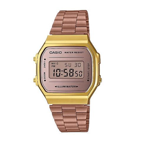 Casio Vintage Standard Digital Rose Gold Ion Plated Band Watch A168WECM-5D A168WECM-5