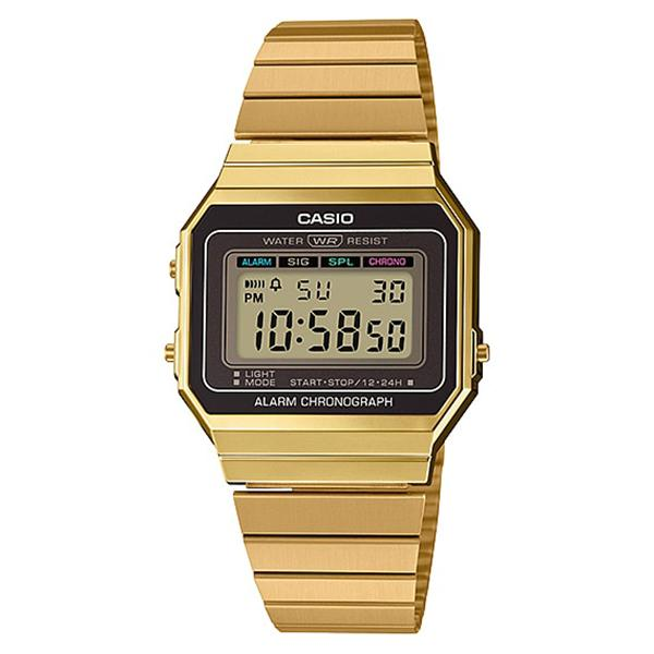 Casio Vintage Standard Digital Gold Ion Plated Stainless Steel Band Watch A700WG-9A