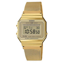 Load image into Gallery viewer, Casio Vintage Standard Digital Gold Ion Plated Stainless Steel Mesh Band Watch A700WMG-9A