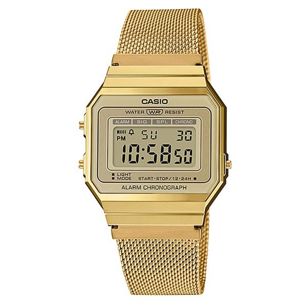Casio Vintage Standard Digital Gold Ion Plated Stainless Steel Mesh Band Watch A700WMG-9A