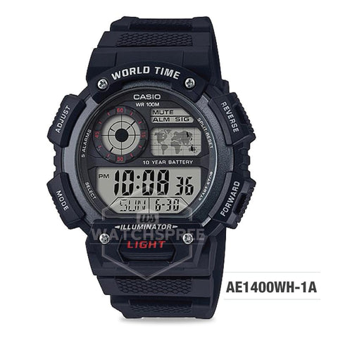 Casio Men's Standard Digital Black Resin Band Watch AE1400WH-1A AE-1400WH-1A