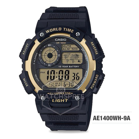 Casio Men's Standard Digital Black Resin Band Watch AE1400WH-9A AE-1400WH-9A