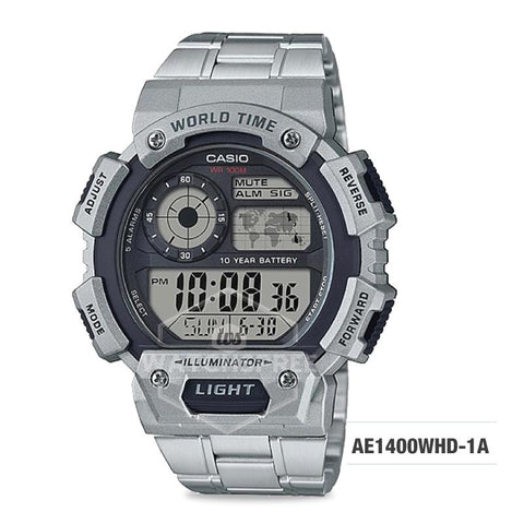 Casio Men's Standard Digital Silver Stainless Steel Watch AE1400WHD-1A AE-1400WHD-1A