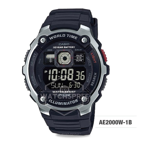 Casio Men's Standard Digital Black Resin Band Watch AE2000W-1B AE-2000W-1B
