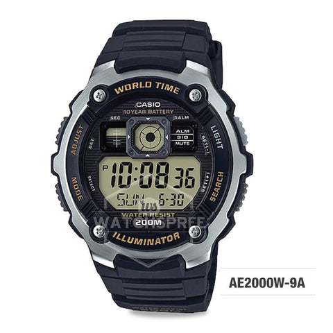 Casio Men's Standard Digital Black Resin Band Watch AE2000W-9A AE-2000W-9A