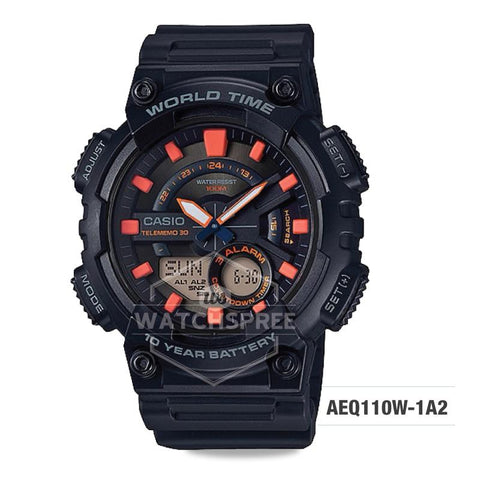 Casio Men's Standard Analog Digital Black Resin Band Watch AEQ110W-1A2 AEQ-110W-1A2