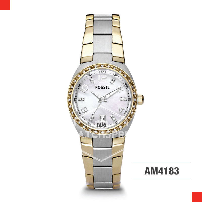 Fossil Ladies Colleague Two Tone Stainless Steel Watch AM4183