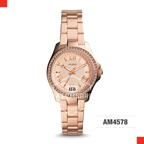 Fossil Ladies Cecile Small Rose-Tone Stainless Steel Watch AM4578