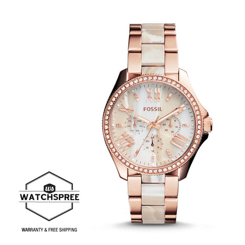 Fossil Ladies Cecile Rose-Tone & Horn Acetate Stainless Steel Watch AM4616