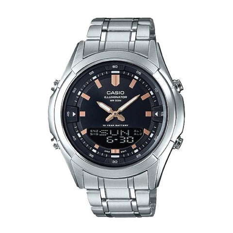 Casio Analog-Digital Combination Silver Stainless Steel Band Watch AMW840D-1A AMW-840D-1A