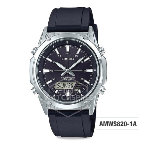 Casio Men's Standard Analog Digital Solar-Powered Black Resin Band Watch AMWS820-1A AMW-S820-1A