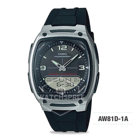 Casio Analog-Digital Silver Stainless Steel Band Watch AW81D-1A