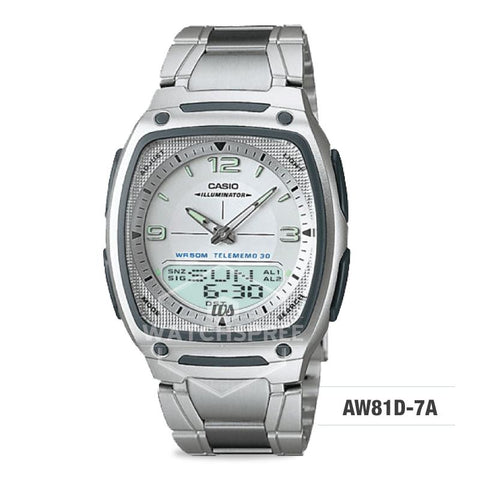 Casio Analog-Digital Silver Stainless Steel Band Watch AW81D-7A