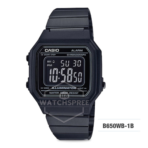 Casio Unisex Vintage Full Black Stainless Steel Band Watch B650WB-1B