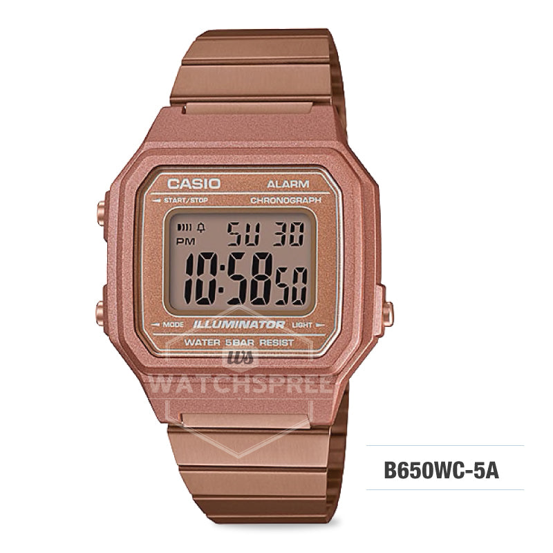 9a592d9c86f7 Casio Unisex Vintage Rose Gold Stainless Steel Band Watch B650WC-5A ...