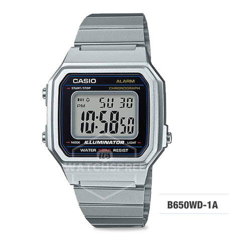 Casio Unisex Vintage Silver Stainless Steel Band Watch B650WD-1A