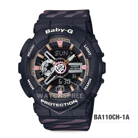Casio Baby-G PUNTO IT DESIGN BA-110 Series Black and Pastel Pink Resin Band Watch BA110CH-1A