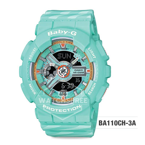 Casio Baby-G PUNTO IT DESIGN BA-110 Series Emerald Green and Pastel Blue Resin Band Watch BA110CH-3A