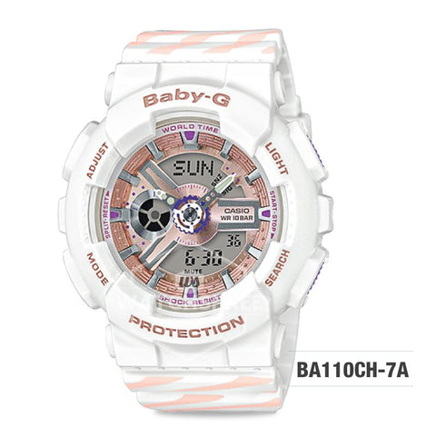 Casio Baby-G PUNTO IT DESIGN BA-110 Series White and Pastel Pink Resin Band Watch BA110CH-7A