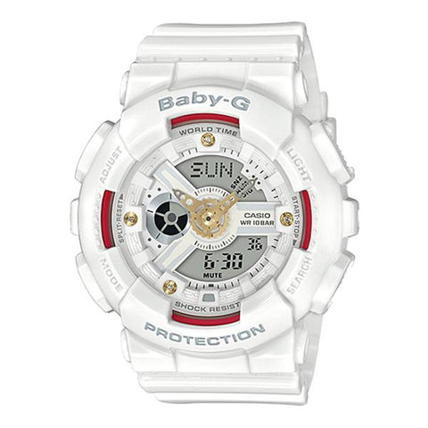 Casio Baby-G BA110 Series Diamond Index White Resin Band Watch BA110DDR-7A BA-110DDR-7A