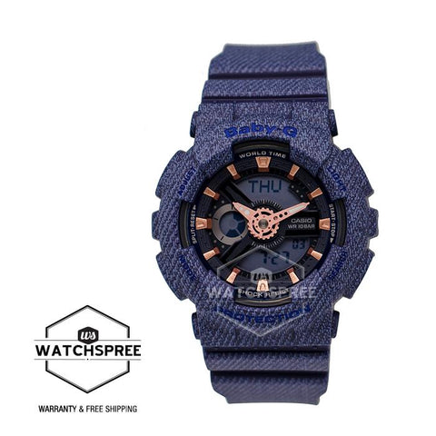 Casio Baby-G New DENIM'D COLOR Special Color Models Dark Blue Resin Band Watch BA110DE-2A1