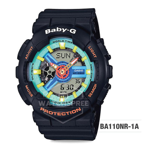 Casio Baby-G Neo Retro Colors BA-110 Series Black Resin Band Watch BA110NR-1A BA-110NR-1A