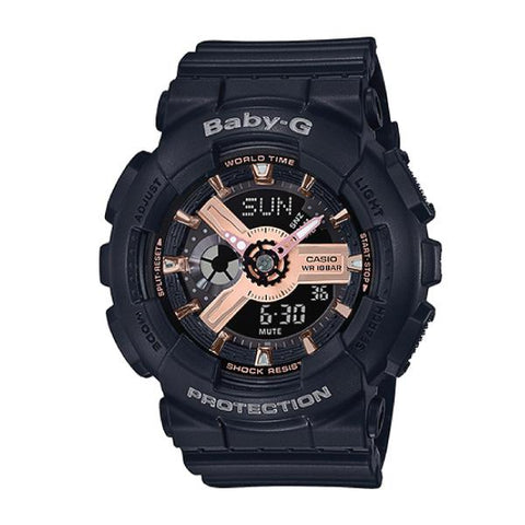 Casio Baby-G BA110 Series Rose Gold Metallic Black Resin Band Watch BA110RG-1A BA-110RG-1A