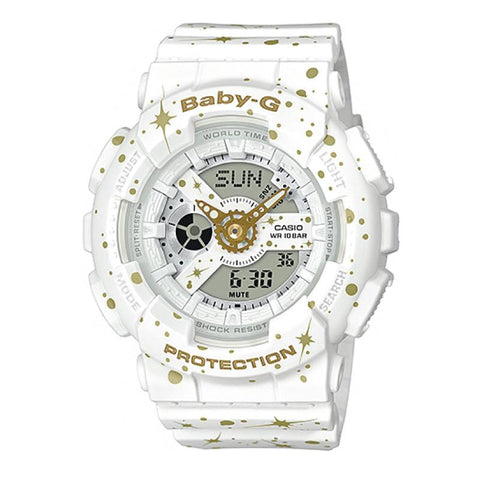 Casio Baby-G BA-110 Starry Sky Series Matte White Resin Band Watch BA110ST-7A