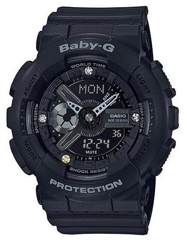 Casio Baby-G Limited Model Diamond Index Black Resin Band Watch BA135DD-1A BA-135DD-1A