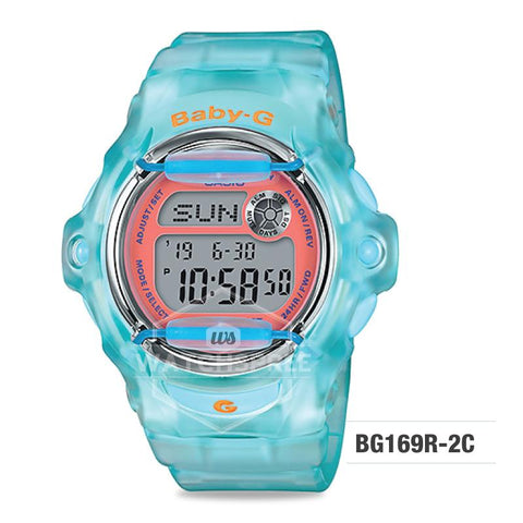 Casio Baby-G Neo Retro Colors BG-169 Series Blue Green Semi-transparent Resin Band Watch BG169R-2C BG-169R-2C